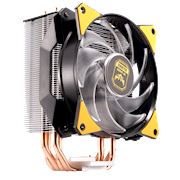 The stacked fin array ensures the least amount of airflow resistance allowing cooler air into the heatsink.