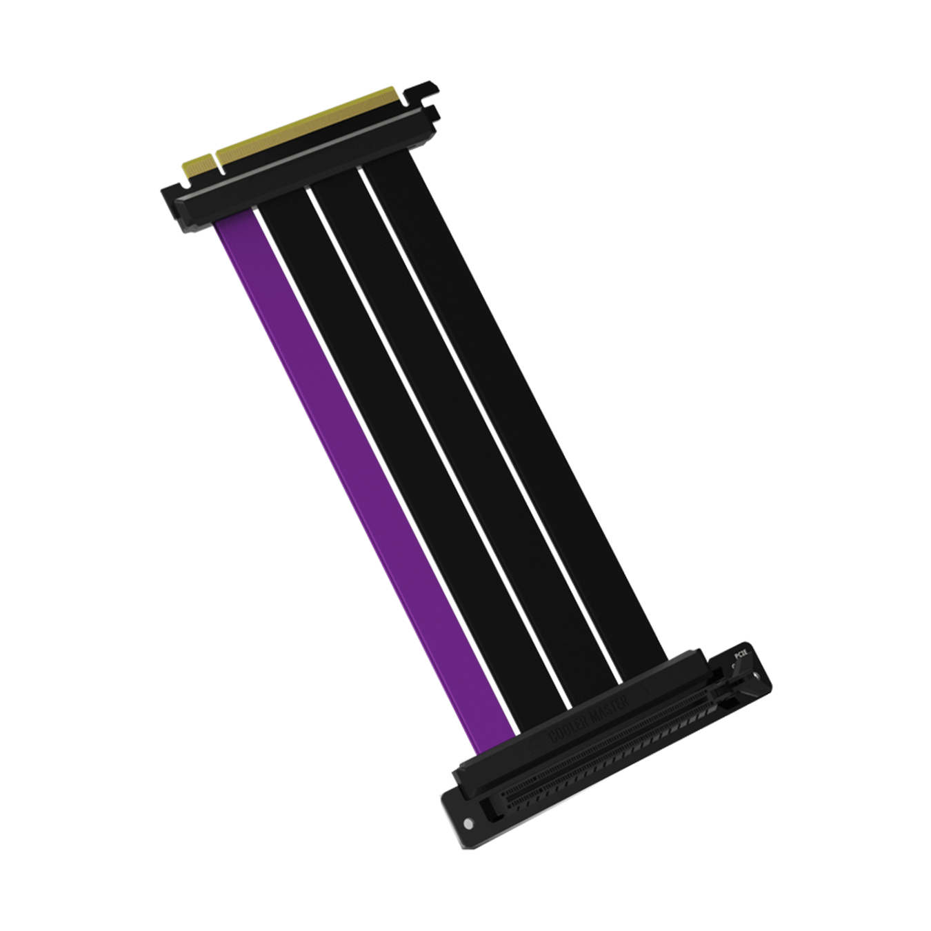 45 degree angle view of the Cooler Master MasterAccessory PCIe 4.0 Riser Cable with three matte black cables and a single purple accent cable.