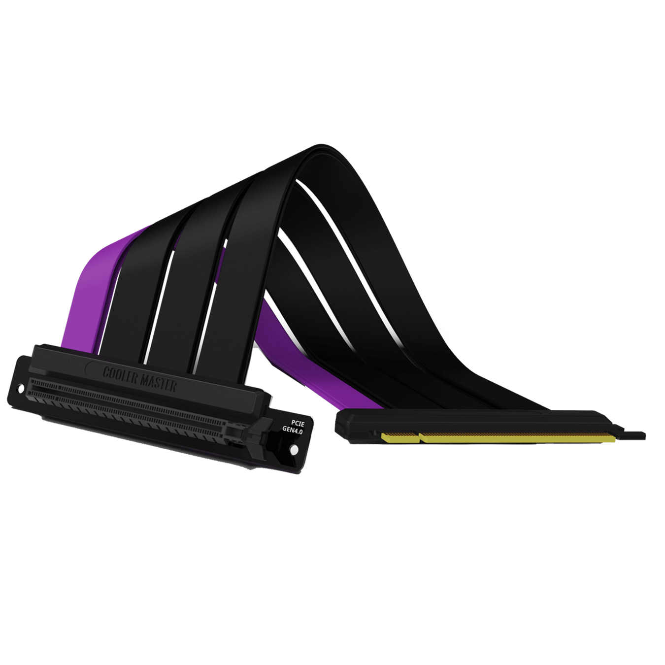 Front view of the folded Cooler Master MasterAccessory PCIe 4.0 Riser Cable with three matte black cables and a single purple accent cable.
