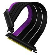 Side view of the folded Cooler Master MasterAccessory PCIe 4.0 Riser Cable with three matte black cables and a single purple accent cable.