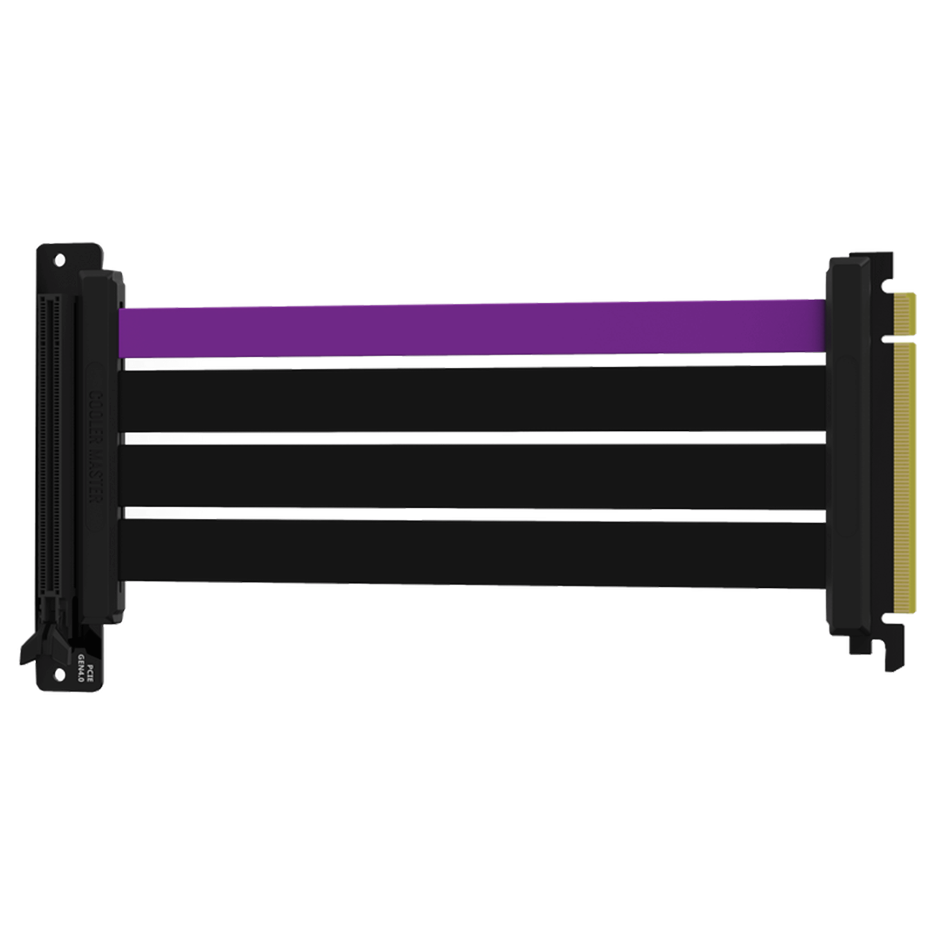 The Cooler Master MasterAccessory PCIe 4.0 Riser Cable with three matte black cables and a single purple accent cable in a horizontal position.