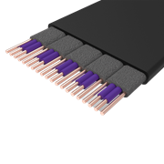 Section view of a single cable sleeve, revealing aluminium EMI sheilding to minimize signal interference.