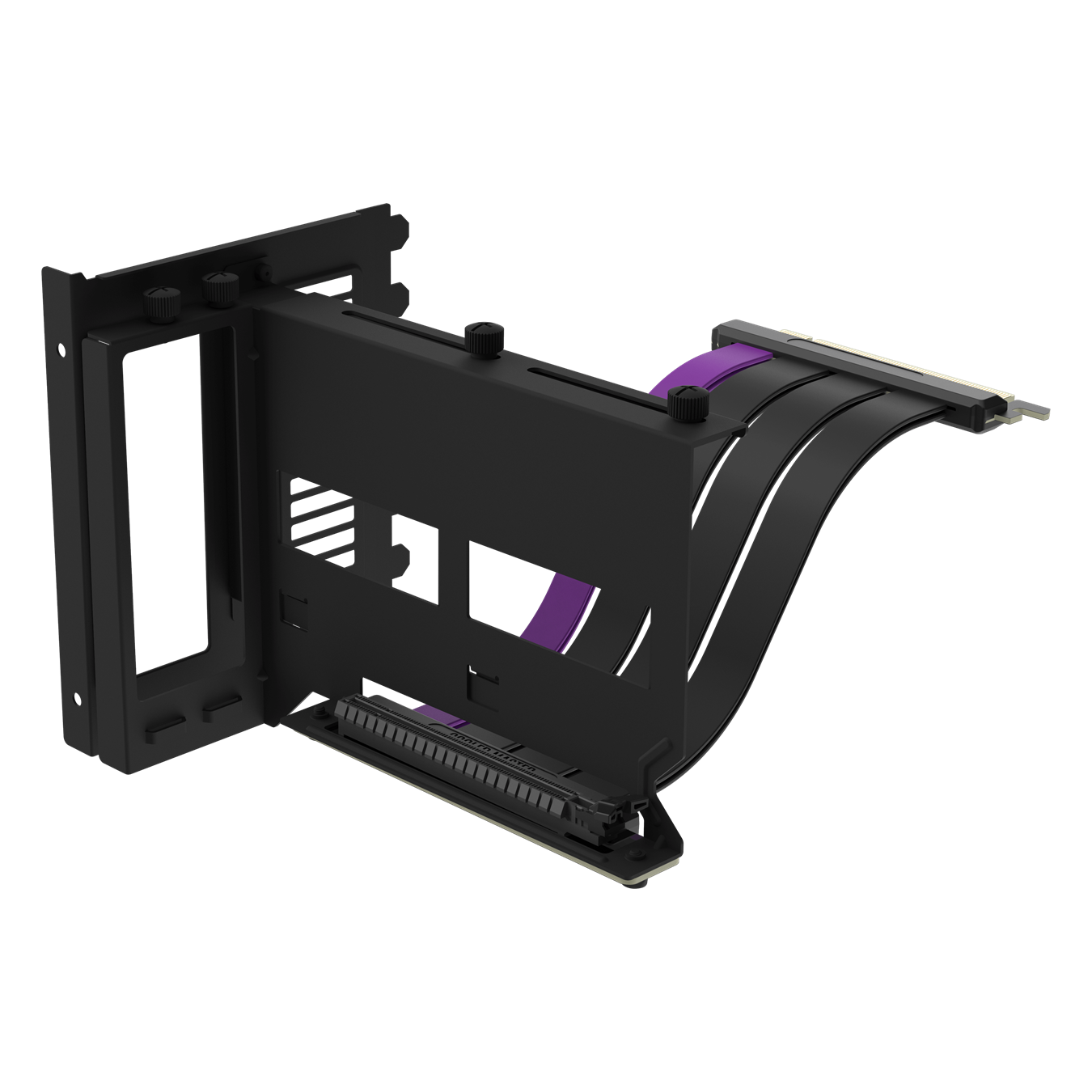 Black Universal Vertical GPU Bracket with an included matte black PCIe 4.0 riser cable with purple accent.