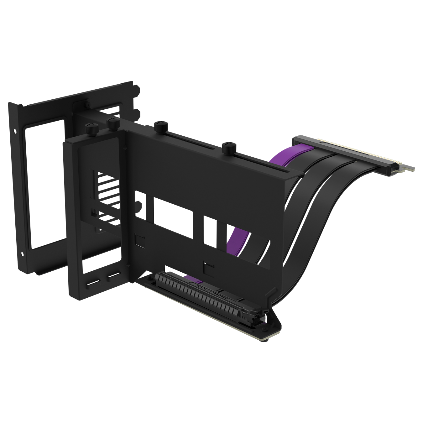 Black Universal Vertical GPU Bracket with an included matte black PCIe 4.0 riser cable with purple accents, extended to accomadate various case layouts and GPU lengths.