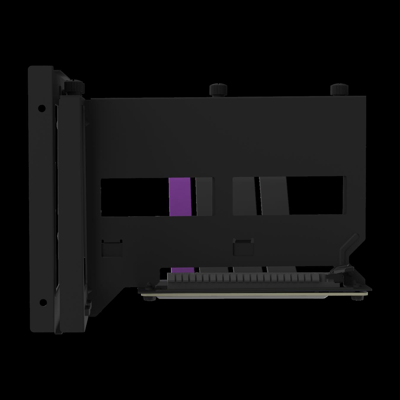 Front view of the black Universal Vertical GPU Bracket.
