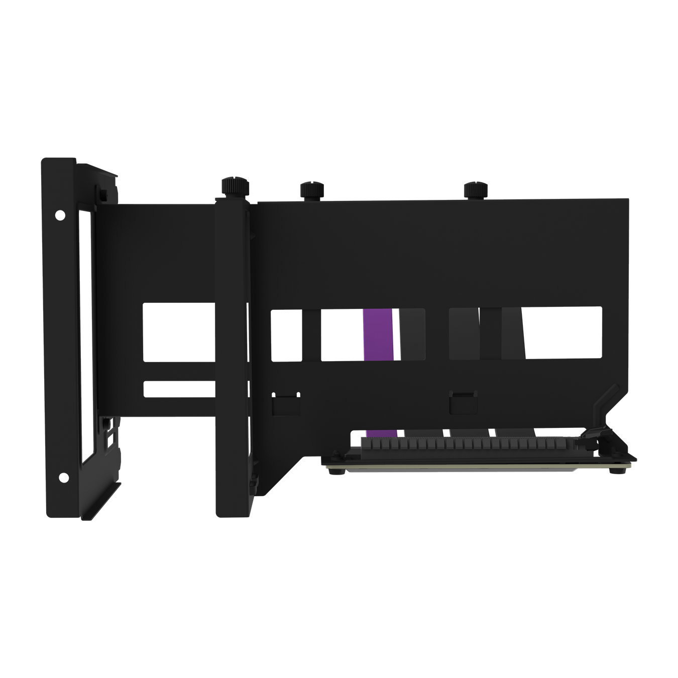 Front view of the black Universal Vertical GPU Bracket, extended to accomadate various case layouts and GPU lengths.