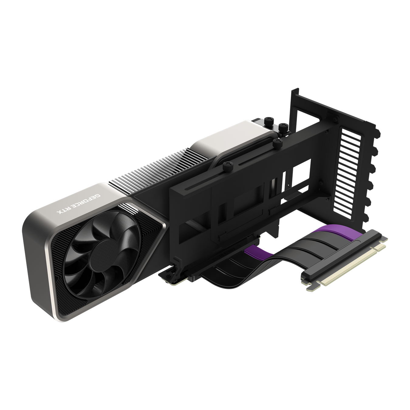 45 degree angled right side view of the extended black Universal Vertical GPU Bracket with included PCIe 4.0 riser cable and GPU installed.