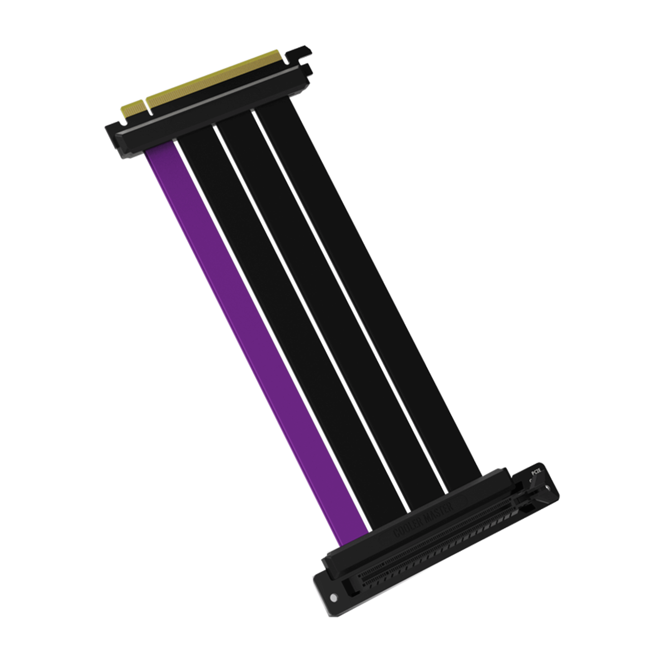 The included 165mm PCIe 4.0 Riser Cable with three matte black cables and a single purple accent cable.
