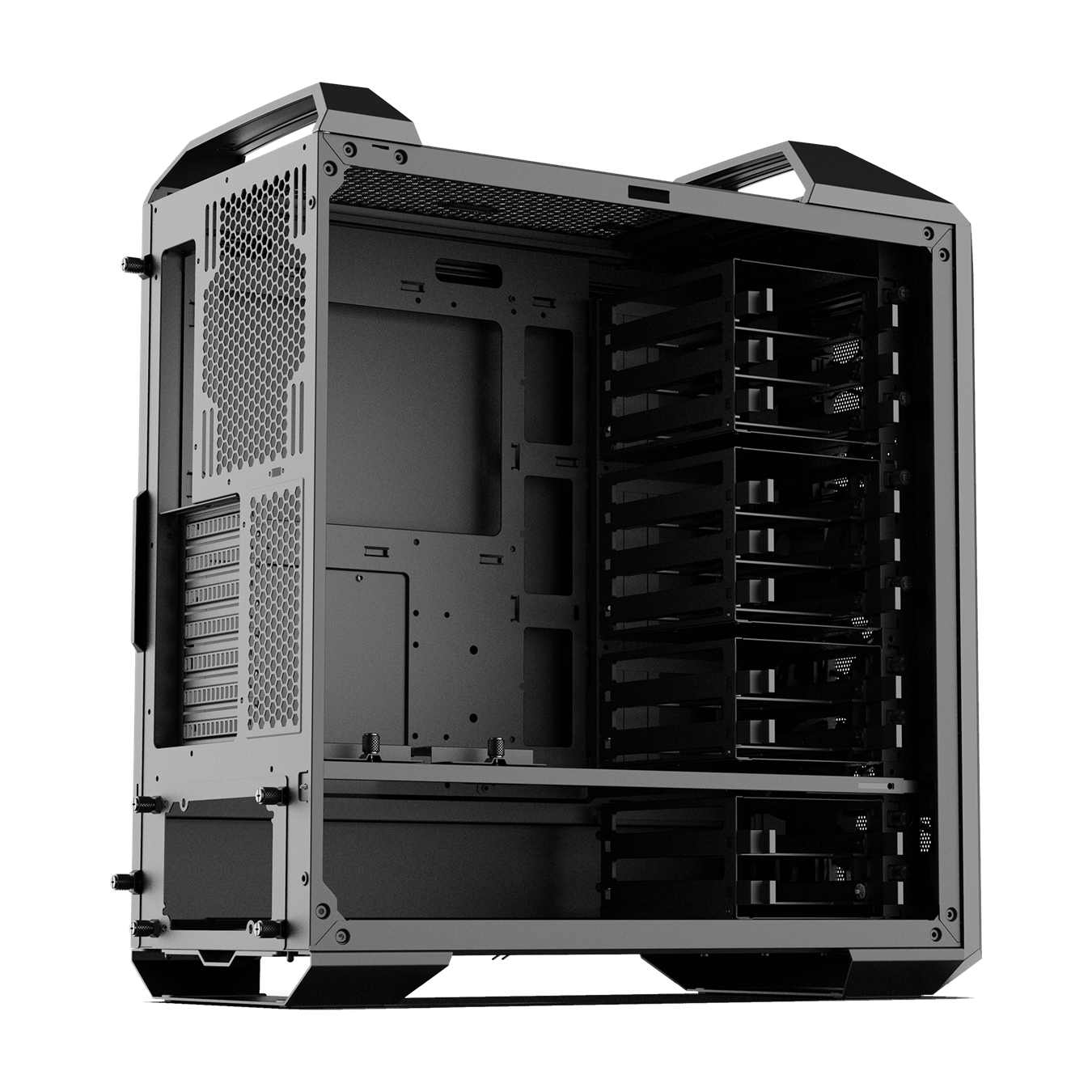 Removable partition panel isolates power supply and cables for clean management.
