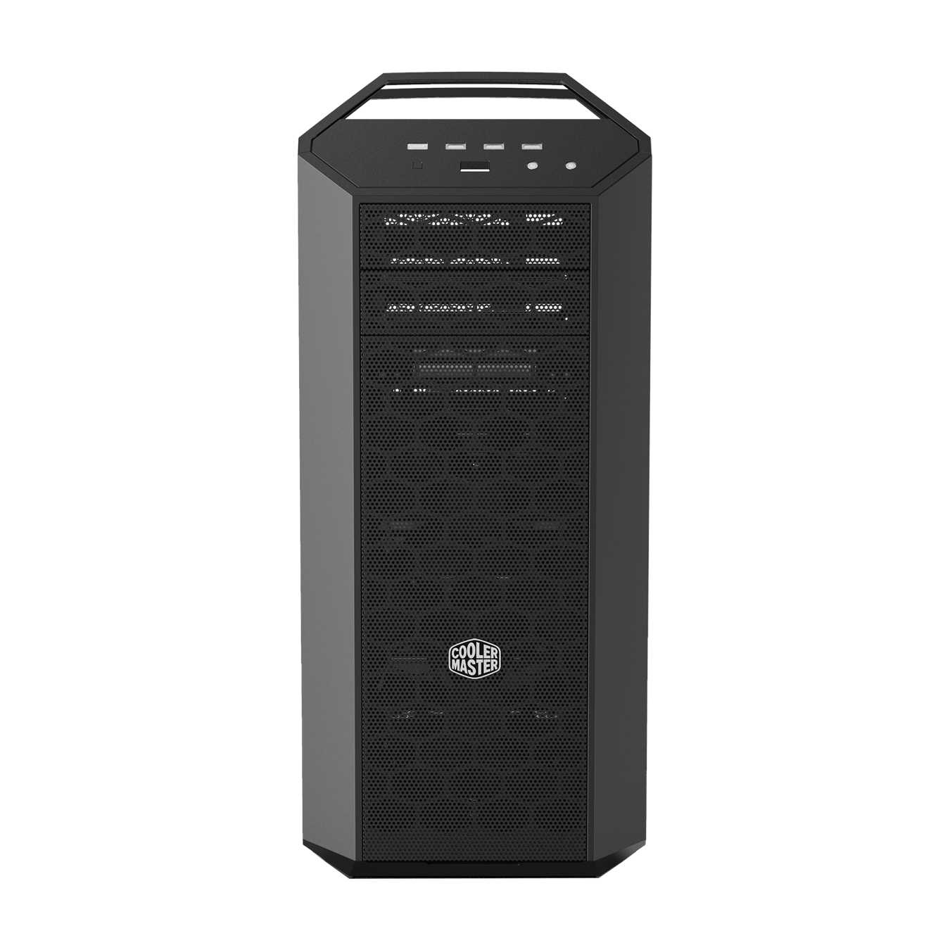 MasterCase MC500 High Storage Edition comes with 2x 140mm fans pre-installed in front of the drive cages, behind a sturdy and easy-to-remove dust filter.