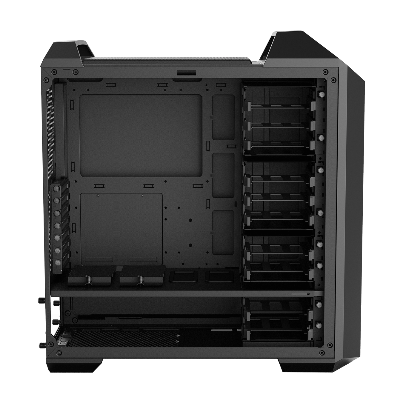 MasterCase MC500 High Storage Edition offers support for up to 6x 120mm or 6x 140mm fans andtop radiator support for up to 280mm units.