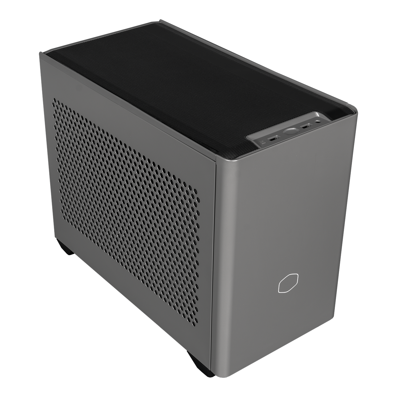 Angled side veiw of NR200P MAX with black mesh top panel with I/O, steel ventilated left side panel and satin grey front panel.