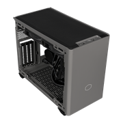 Angled side veiw of NR200P MAX with black mesh top panel, I/O and satin grey front panel. The side panel has been removed and internal components such as the AIO and PSU are revealed.