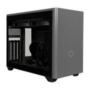 Angled side veiw of NR200P MAX with tempered glass side panel and satin grey front panel. Included components such as the AIO and PSU as displayed behind the tempered glass.