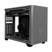Angled side veiw of NR200P MAX with satin grey front panel. The side panel has been removed and included components such as the AIO and PSU are revealed.