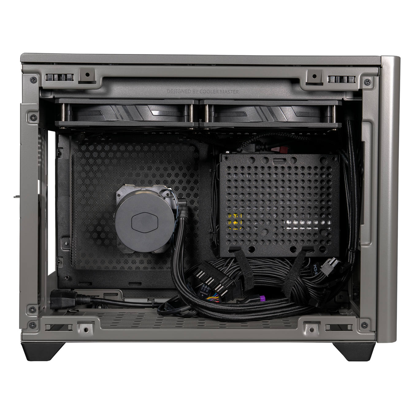 Side view of NR200P MAX. The side panel has been removed and included components such as the AIO and PSU are revealed.