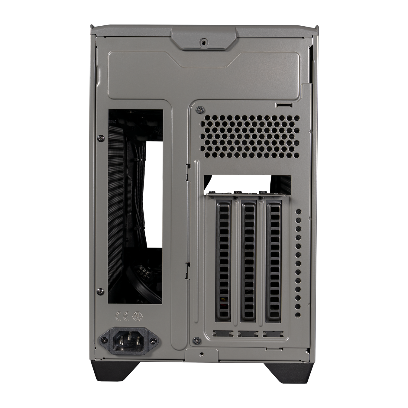 Back panel of NR200P MAX. The I/O cutout is on the left and three vertical PCI slots are available on the right.
