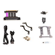 All the included accessories such as pump mounting breacket, additional cables, screws and PCIe 4.0 riser cable.