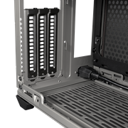 Close up view of the black vertical PCI brackets from the inside of the case.