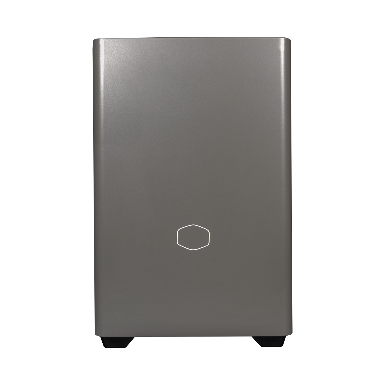 NR200P MAX satin grey front panel with small white Cooler Master logo.
