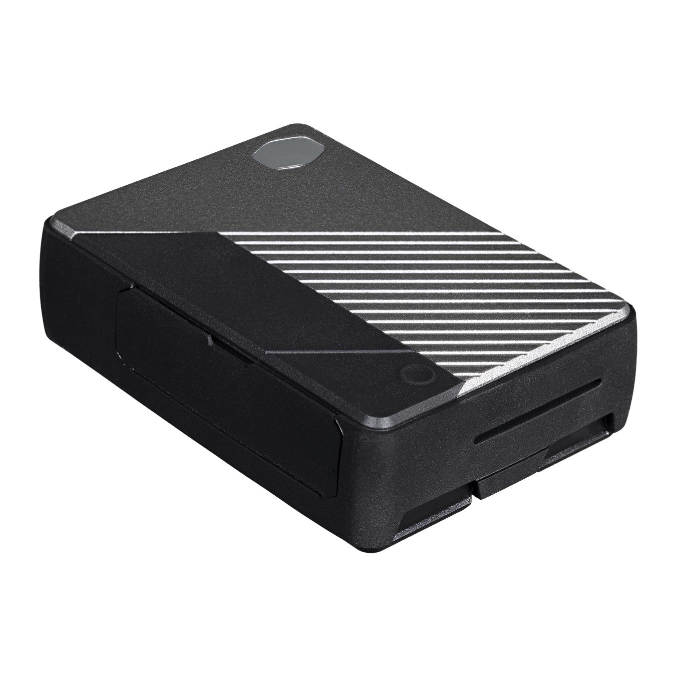 45 degree angle view of the Pi Case 40 V2 with a silver front panel, small Cooler Master halo logo and TPU bumper.