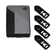 Main unit of the Pi Case 40 with four included black VESA/ wall mounting brackets.