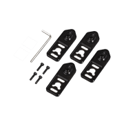 Included accessories such as four black VESA/wall mounting brackets, hex key and screws.