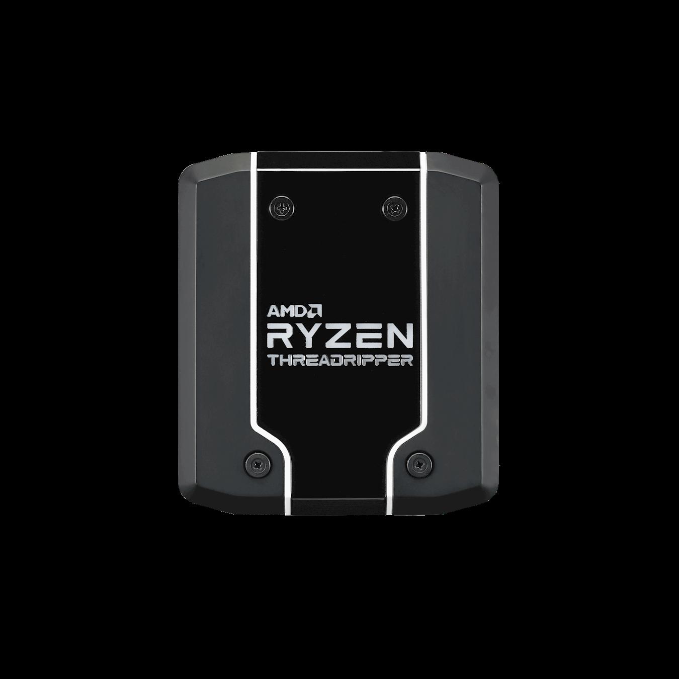 The AMD Ryzen Threadripper logo's vivid display of Addressable RGB LEDs provides unique perspective light effect