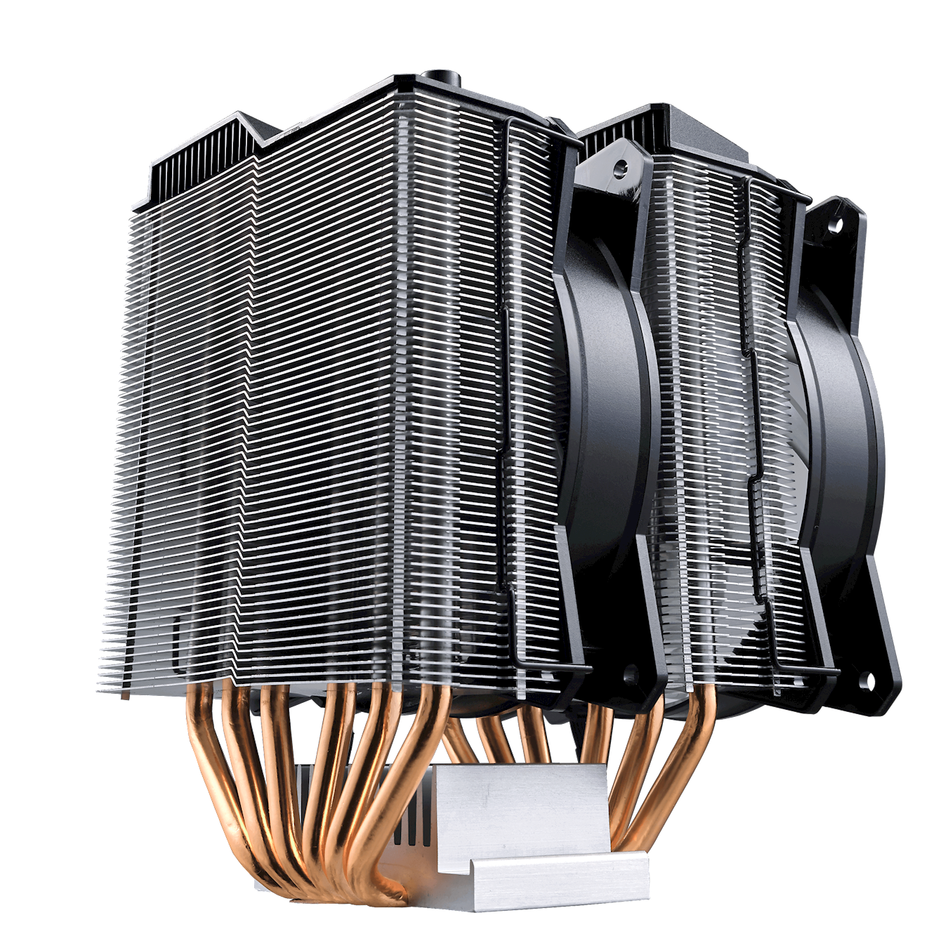 The dual tower heatsink has a combination of 2 sets of heatsink towers with 2 sets of MasterFan MF120R RGB.