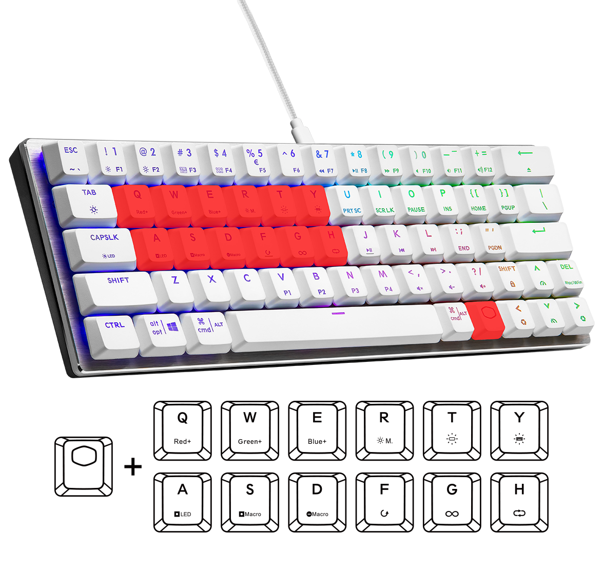 Cooler Master SK620 SILVER WHITE Low Profile Blue Switch Mechanical Gaming RGB Keyboard - US 9