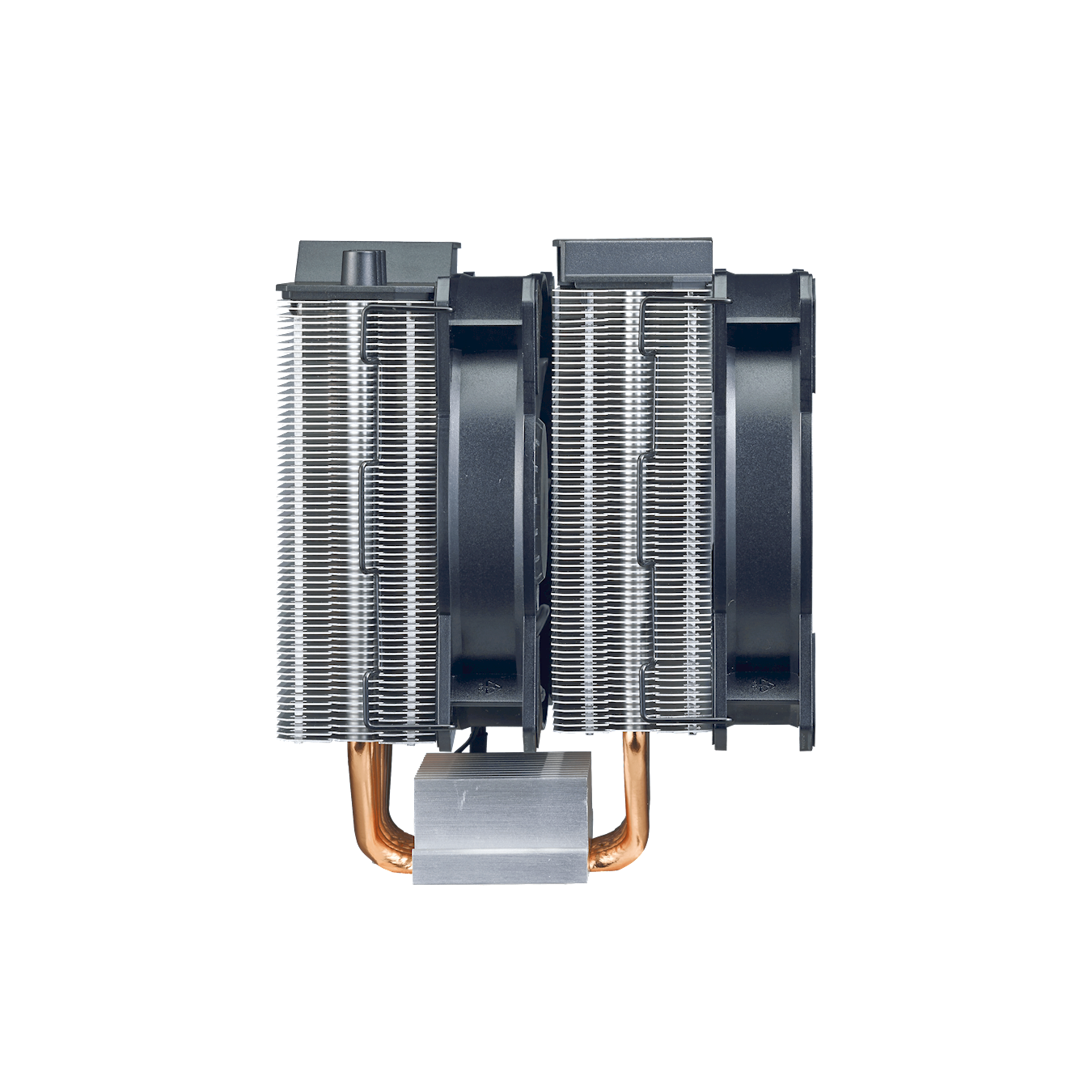 The dual twin tower heatsink has a combination of 2 sets of heatsink towers with 2 sets of MasterFan MF120R RGB.