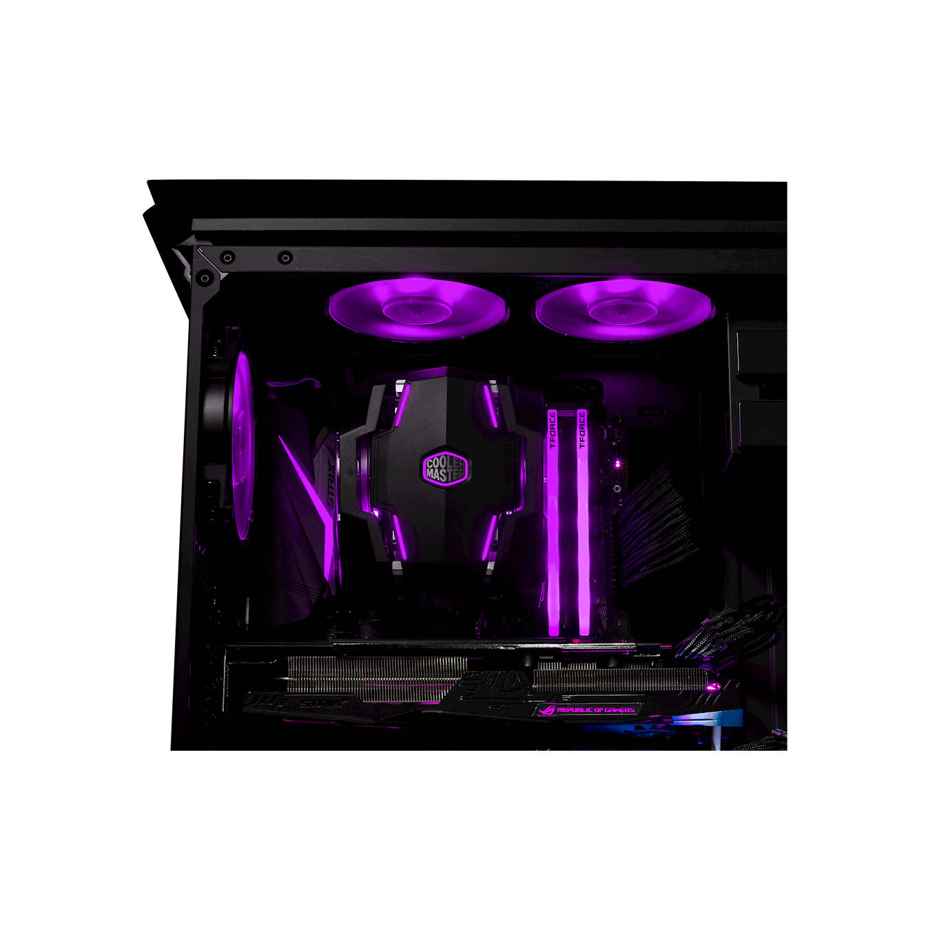 Dual push-pull MasterFan RGBCertified compatible with top RGB capable motherboards